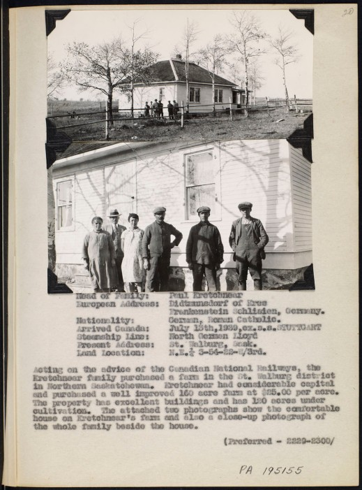 Page from an album with two black and white photographs; one of a family standing in front of a house surrounded by farmland, and the other a close-up of the same scene. Page also includes typed information about the family's identity and their immigration details.