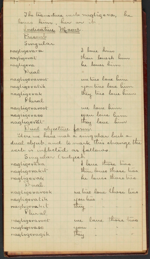 """A handwritten page of a notebook, recording Inuktitut vocabulary for the word """"love."""""""