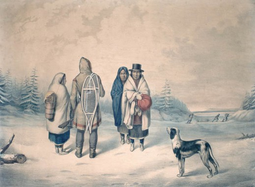 A coloured lithograph of First Nations man in capote/blanket coat, three women and a dog in winter scene.