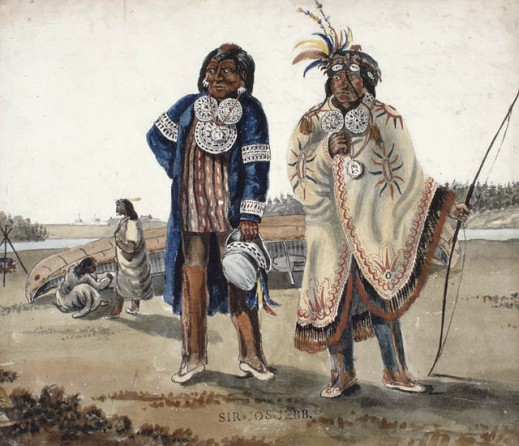 A watercolour over pencil of two First Nations men in regalia standing in front of landed canoe and river.