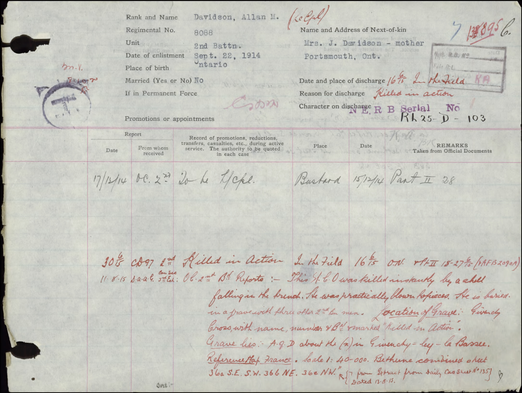 A page from the service file of Scotty Davidson describing how he was killed in action.