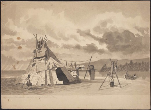 Watercolor grey wash over pencil of First Nations man sitting on log by a tepee with blanket near top opening, fire pit with kettle, and canoe landed on shore by river.
