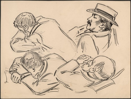 A black-and-white sketch of four men in different sleeping positions.