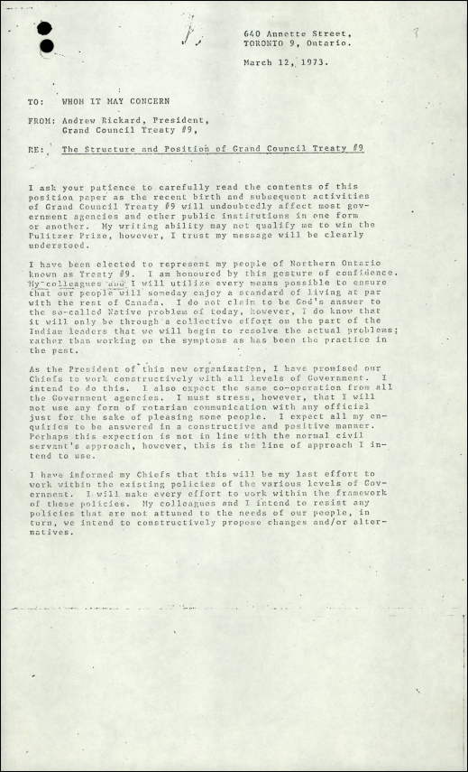A typewritten memo, dated March 12, 1973, from President Andrew Rickard of Grand Council Treaty #9, on behalf of his people, about his intentions and expectations of working with all levels of government.