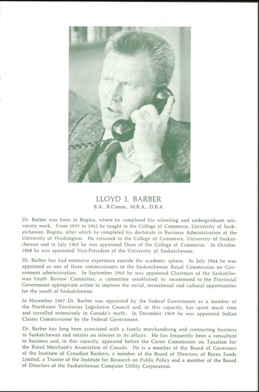 A page of typewritten text with a picture centred at the top of Dr. Lloyd I. Barber, a middle-aged man with a brush cut, dressed in a suit and a tie, and talking on the telephone