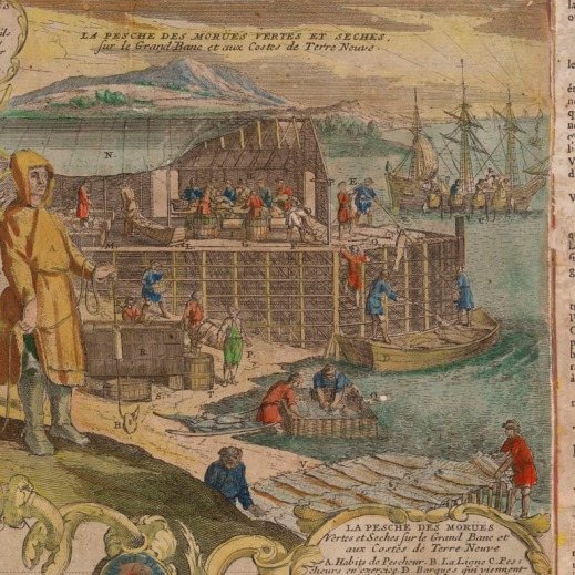 A hand-drawn and coloured illustration that shows the shore with people on a wooden stage working on curing and drying cod in Newfoundland.