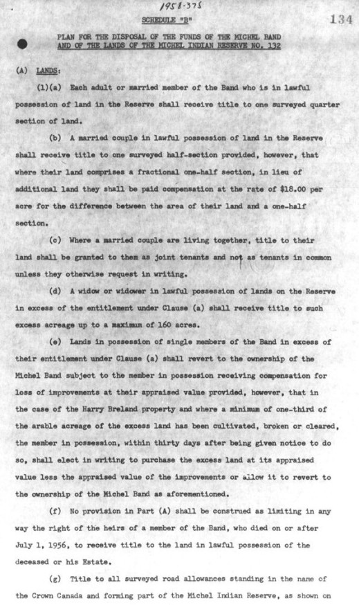 A black-and-white typewritten text outlining the disposal of the funds of the Michel Band and the lands of the Michel Indian Reserve No. 132.