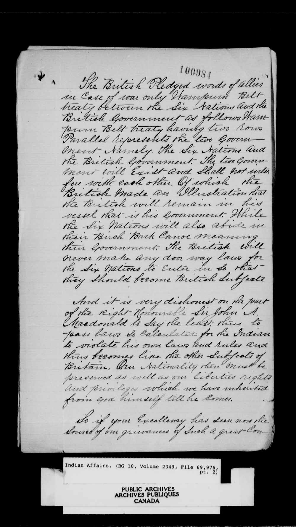 A black-and-white reproduction of a handwritten petition addressed to His Excellency the Governor General of the Dominion of Canada, the Right Honourable Lord Stanley.