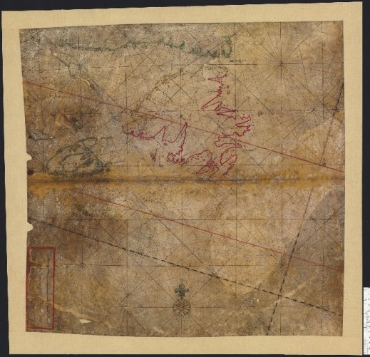 Nautical chart, on vellum in coloured ink, of the coastline of Newfoundland, Acadia and the Gulf of St. Lawrence.