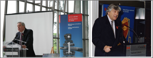"Two colour photographs side by side. The photograph to the left is of a man, Ian Wilson, speaking at a podium with a poster that reads ""Knowledge is here"" behind him. The photograph to the right is also of a man, Roch Carrier, speaking at a podium."