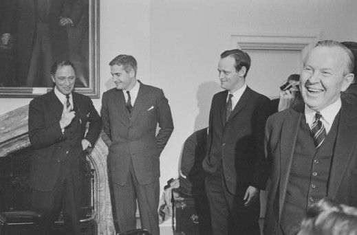 Black-and-white photograph showing four former Canadian prime ministers: Pierre Elliott Trudeau, John Turner, Jean Chrétien and Lester B. Pearson.