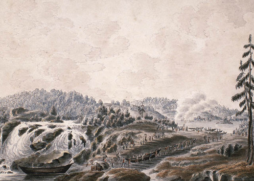 Painting depicting travellers walking single file while portaging their boats overland to avoid a waterfall.