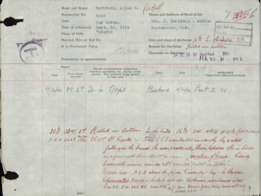 "A page from the service file of ""Scotty"" Davidson describing how he was killed in action in the field by a shell falling in the trench, and how he is buried in a grave with three other 2nd Battalion men."