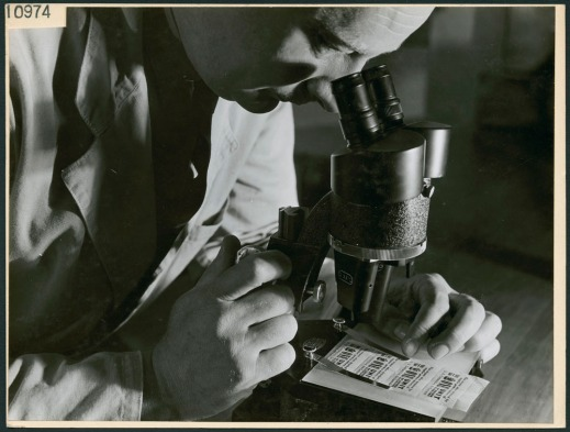 A black-and-white photograph of a man looking through a microscope designed to aid in the detection of counterfeit bills, handwriting and tickets.