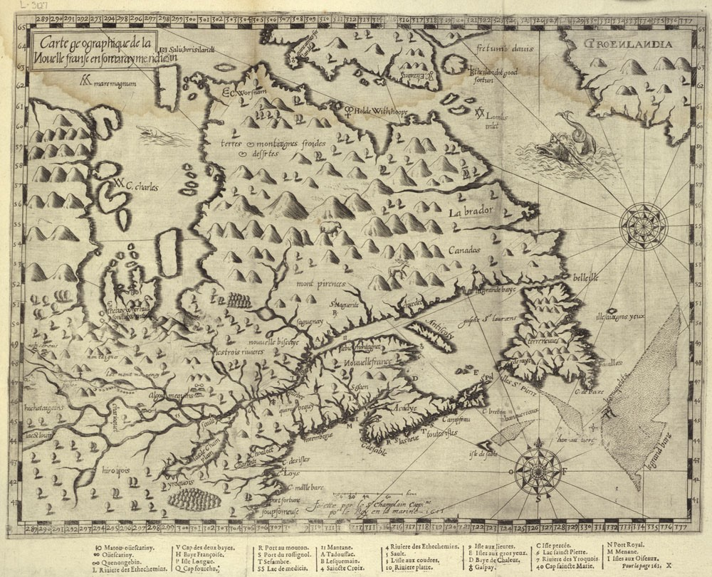 : A black-and-white hand-drawn map depicting Quebec, the Maritime provinces and the eastern part of Ontario in 1613.