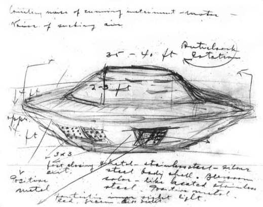 Black-and-white drawing of a vehicle resembling a flying saucer. There are various annotations, measurements and dimensions written on the paper.