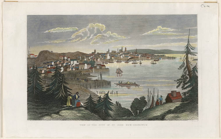 A coloured print of an engraving looking towards the city of Saint John, New Brunswick, with sailboats in the harbour and a few people in the foreground.