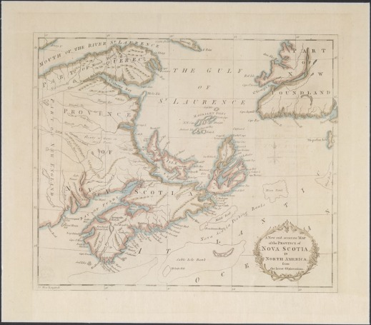 A hand-coloured print of a map of the province of Nova Scotia dated 1781. The map shows the Gulf of St. Lawrence and the lands now known as Nova Scotia, New Brunswick, Prince Edward Island, the Gaspé and the southwest part of Newfoundland.