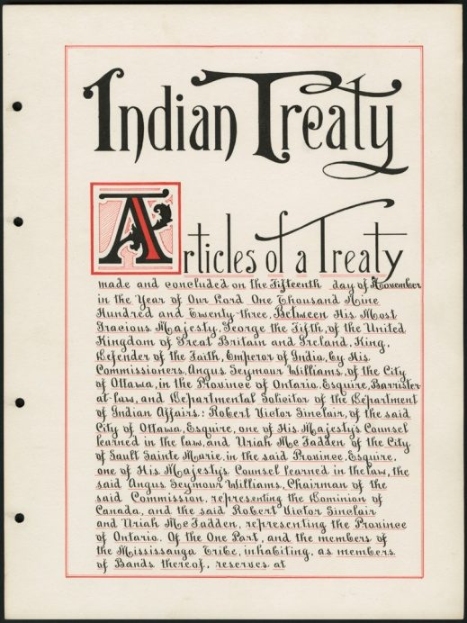 "A handwritten page written in black ink with red accents. Titled ""Indian Treaty,"" it includes the date, parties and signatories."