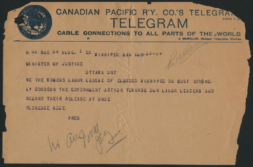 Telegram dated August 29, 1919, from the Women's Labor League of Elmwood Winnipeg to the Minister of Justice condemning the government's actions toward the strike leaders and demanding their release.