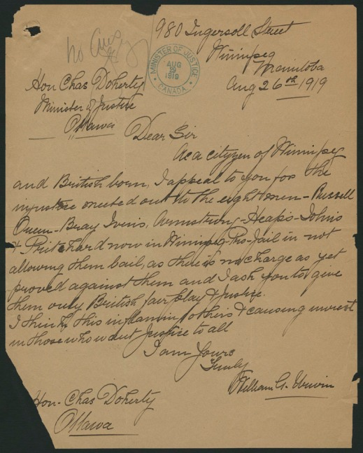 A manuscript letter on yellowing paper dated August 26, 1919.