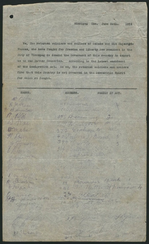 A petition dated June 24, 1919, with a typewritten statement followed by columns for signatures, addresses and the number of family members. The signatures, addresses and family members listed below the statement are in manuscript.