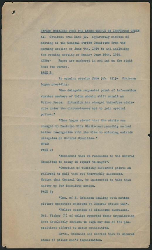 The first page of a typewritten document listing and summarizing the documents obtained from Room 30 of the Ukrainian Labour Temple. The descriptions include short summaries of minutes from Central Strike Committee meetings.