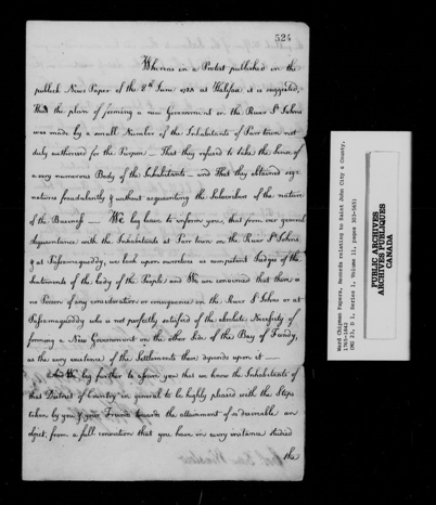 Black and white image of the first page of a handwritten letter of thanks to Edward Winslow from representatives of Saint John River Loyalists, dated June 19, 1784.