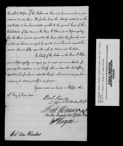 Black and white image of the second page of a handwritten letter of thanks to Edward Winslow from representatives of Saint John River Loyalists, dated June 19, 1784.