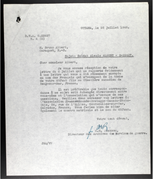 An official document written in French, dated July 1948, that responds to a family request to communicate with those caring for the grave of Private Alexis Albert, North Shore (New Brunswick) Regiment.