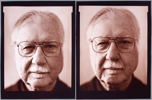 Two headshot photographs of the artist Dave Heath wearing glasses.