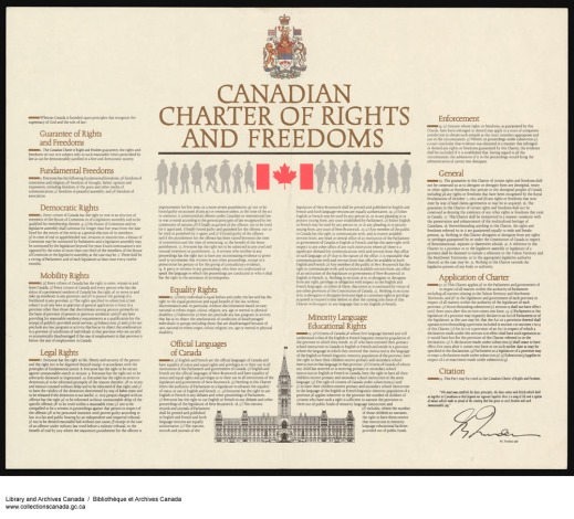 A colour copy of the Charter with a piece of adhesive tape in the corner. The coat-of-arms of Canada is centred at the top of the page, with the title, Canadian flag and silhouettes on both sides below it. At the bottom is an illustration of the Parliament building. The text of the Charter is displayed in four columns.