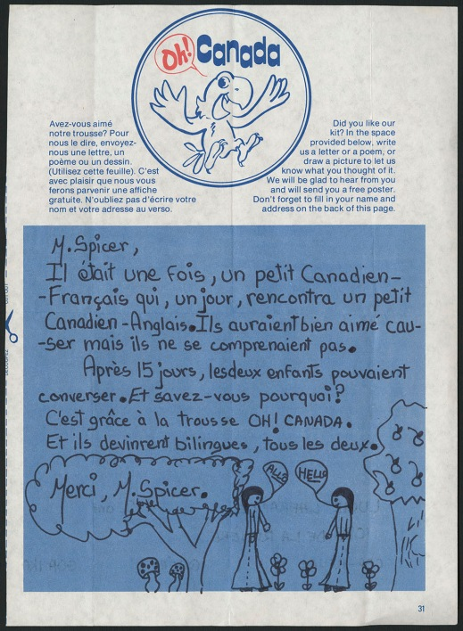 A colour reproduction of a page from a learning kit about bilingualism with a story of two children learning French / English and a drawing of the kids thanking M. Spicer.