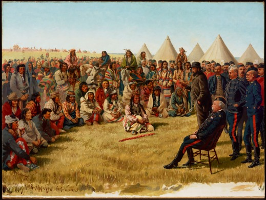 Oil painting of a large group of First Nations people sitting and standing in a semi-circle with tipis in the background. Chief Poundmaker is seated on the ground in the centre with a ceremonial pipe in front of him. General Middleton is on the right seated in a chair, with several army men standing behind him.