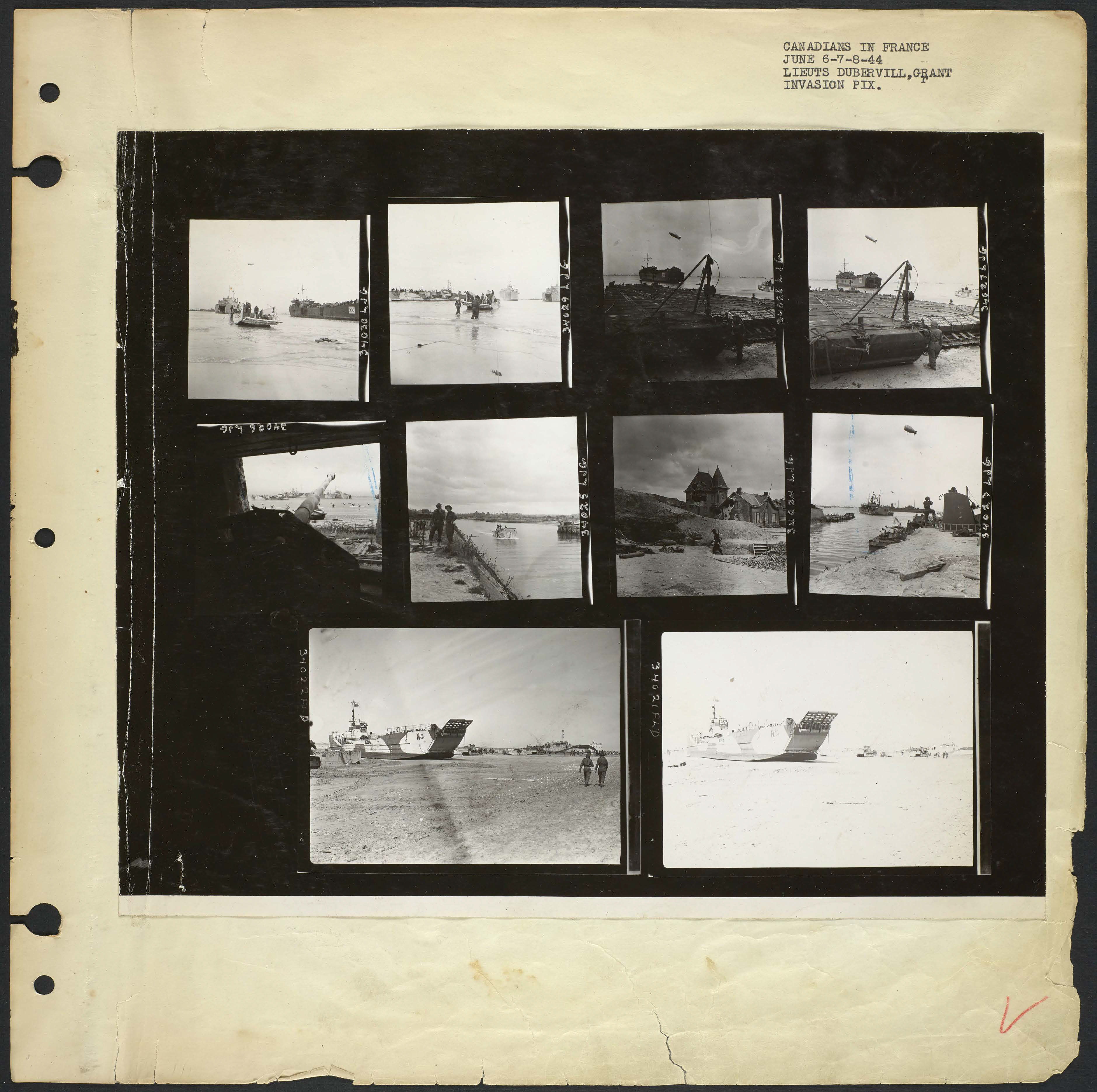 A page of black-and-white photographs showing photos of landing craft, destroyed enemy beach defences, and villages and landing beaches.