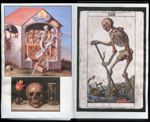 Two pages from Heath's journal No. 208, depicting three different memento mori. One image is of skeletons in a building, another of a skull beside a flower in a vase, and a third of a skeleton walking with a staff.