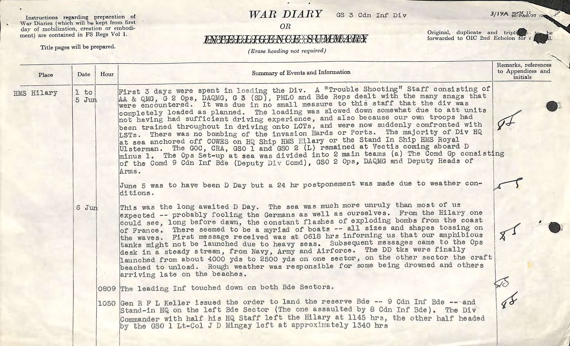 : A colour digitized image of a typescript account of D-Day operations.