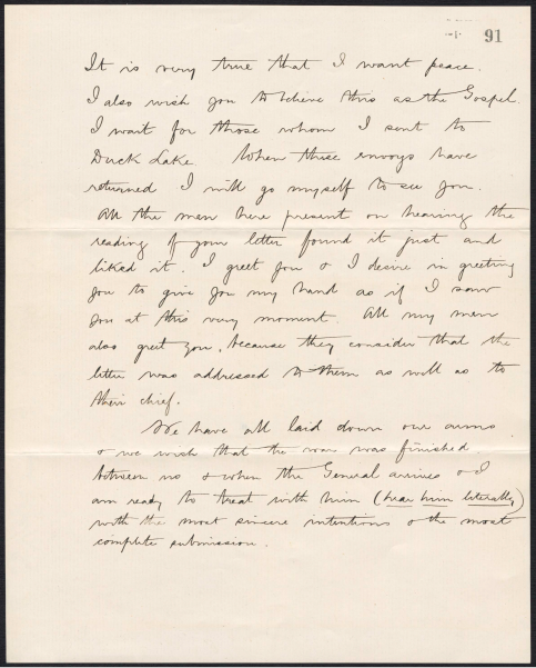 Handwritten letter, written in English