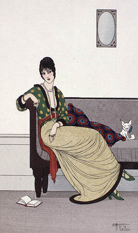 A colour plate of a seated women wearing a long cream skirt and a green shirt patterned with cream ovals. The shirt is belted with a red scarf. She is also wearing green high heel shoes, a long pearl necklace, and rings on her fingers.