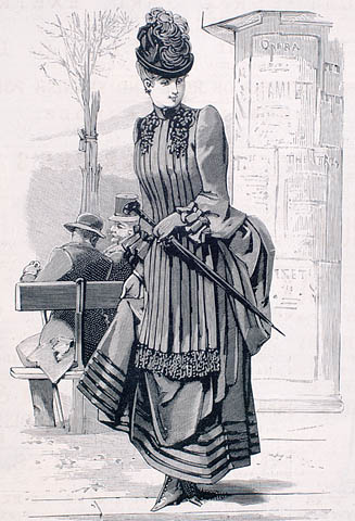 A black-and-white drawing of a woman wearing a gown with a plain skirt edged with five rows of velvet along the hem and a pleated bodice draped like an apron over the front. She is wearing a hat with feathers and carrying an umbrella.