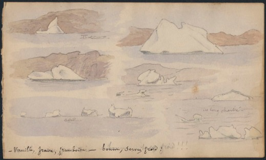 "Six small sketches of different types of icebergs in pale colours with the caption: ""Vanille, fraise, framboise – boum, servez froid!"" [Vanilla, strawberry, raspberry—boom, serve cold!]"