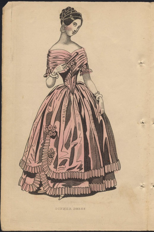 A colour plate of a woman in a pink dinner dress with a pleated off-the-shoulder bodice and ruffles along the hem. She is wearing a pearl hair net, and holding a fan in her gloved hand.