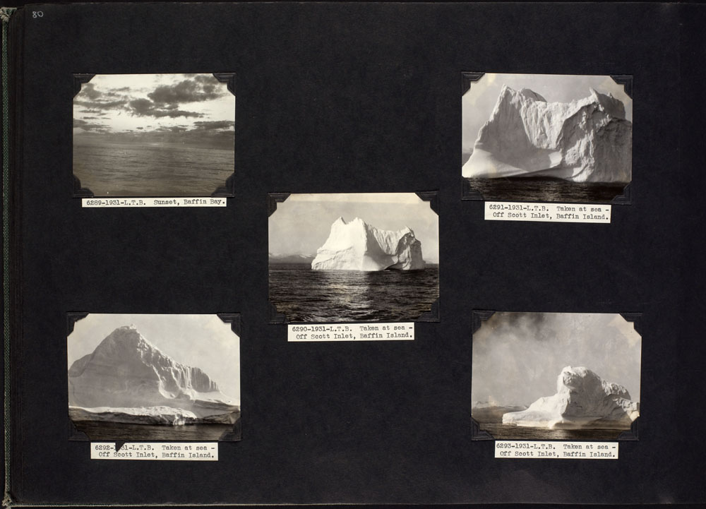 "An album page with five black-and-white close up shots of different types of icebergs and a shot of the ocean at sunset. The captions read, left to right, ""Sunset, Baffin Bay"" and ""Taken at sea – Off Scott Inlet, Baffin Island."""