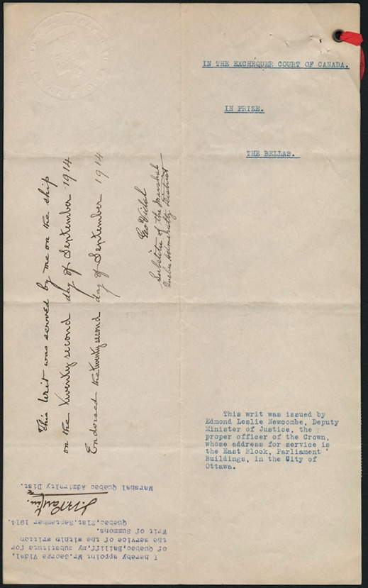 "Typed document with the title ""In the Exchequer Court of Canada"" and a red string in the upper-right corner. It features two signatures."