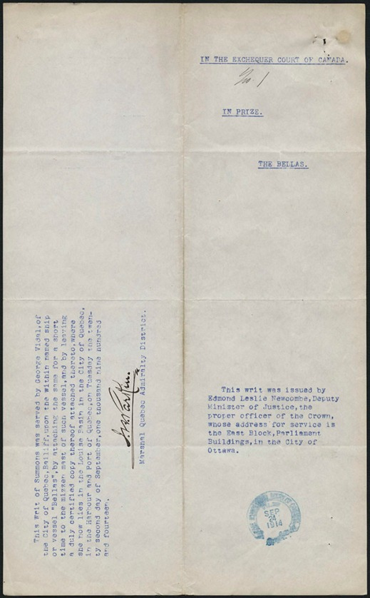 "Typed document with the title ""In the Exchequer Court of Canada No. 1."" It features a blue ink stamp mark dated September 24, 1914, and a signature."