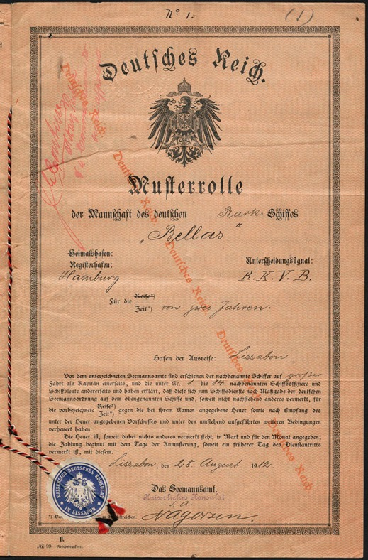 Document written in German. The document features a diagonal watermark from left to right that reads Deutsches Reich (German Empire). The document is titled Deutsches Reich, under which is featured the coat of arms of the German Empire and the mention Musterrolle der Mannschaft des deutschen Bellas.