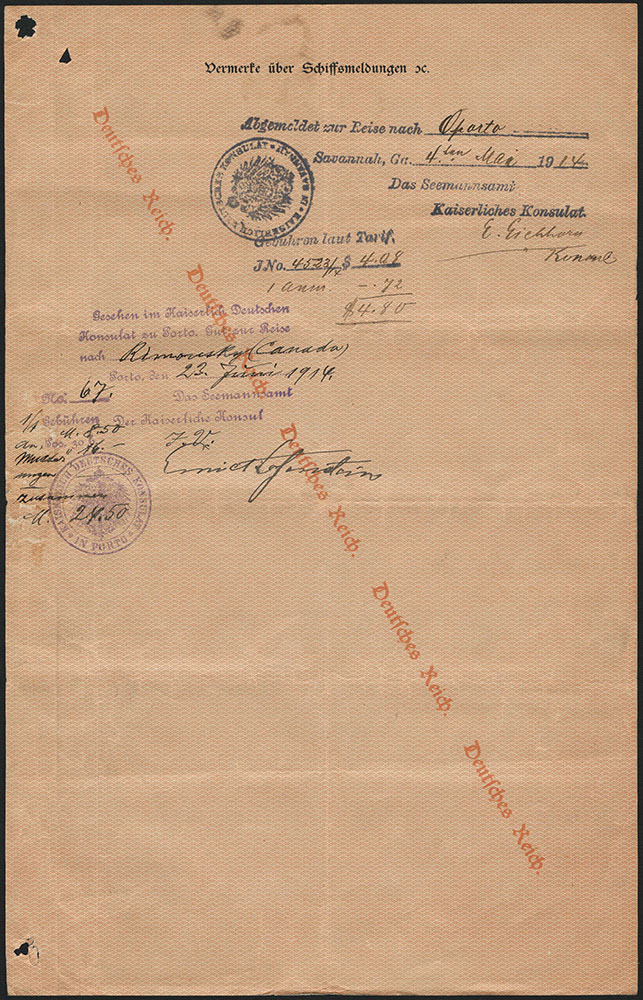 Document written in German. The document features a diagonal watermark from left to right that reads Deutsches Reich (German Empire).