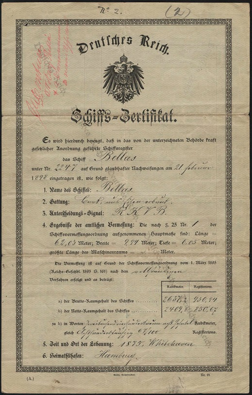 Document written in German. The document features a diagonal watermark from left to right that reads Deutsches Reich (German Empire). The document is titled Deutsches Reich, under which is featured the coat of arms of the German Empire and the mention Schiffs-Zertifikat.