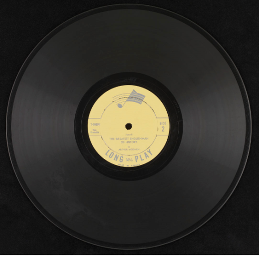 A black 12-inch vinyl record with a yellow label.