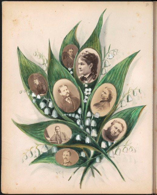 An album page with photographs of eight men and women in the middle of green leaves and surrounded by white flowers.